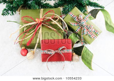 Three Festive Wrapped Gifts