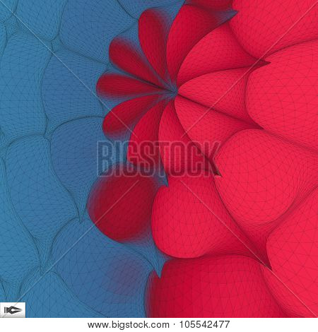 3d Perspective Grid Background. Mosaic. Abstract Geometric Illustration. Futuristic Technology Style. Texture.