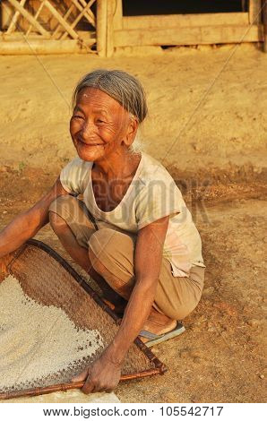 Smiling Old Woman In Nagaland, India