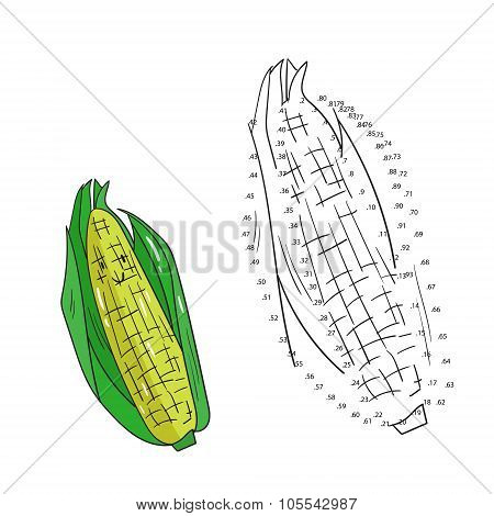 Educational game connect dots to draw corn vector
