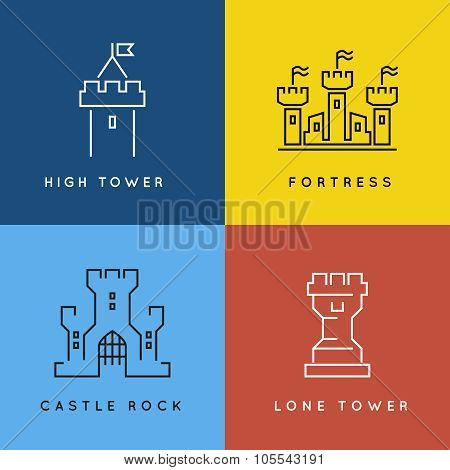Castle and fortess line style or outlined vector logo set