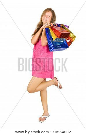 Teen Girl Holding Shopping Bags