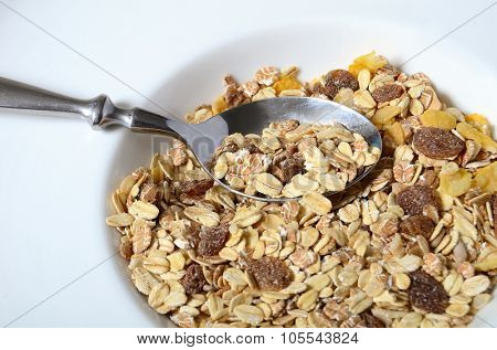 delicious and healthy chocolate cornflakes and almonds muesli or granola great nutritious food