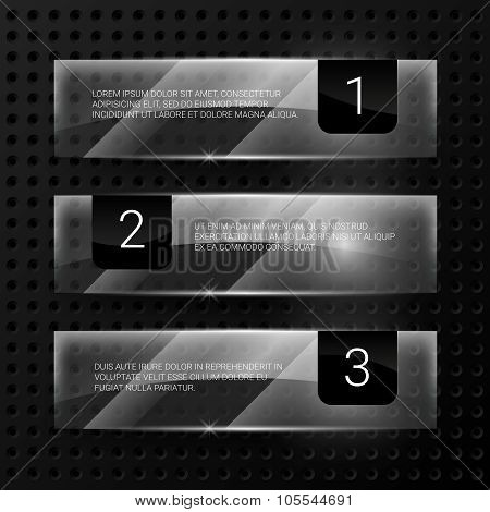 Glass vector banners set