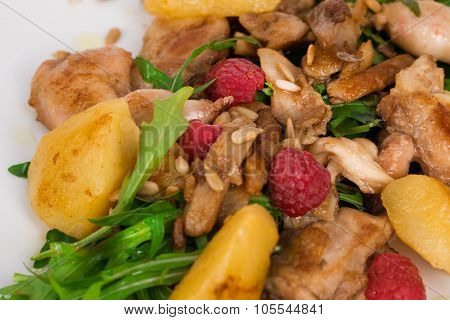 Chicken duck salad with arugula, raspberries, potatoes, sunflower seeds on a square white plate back
