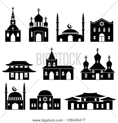 Church building black icons set