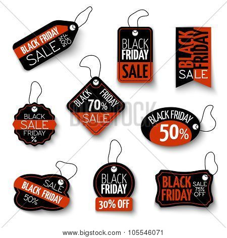 Vector black friday sales tag and banners vector set
