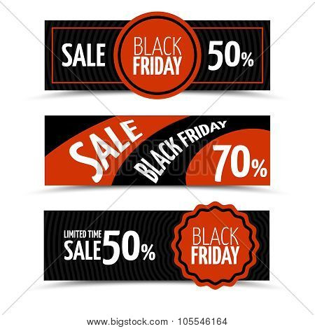 Black friday horizontal vector banners set