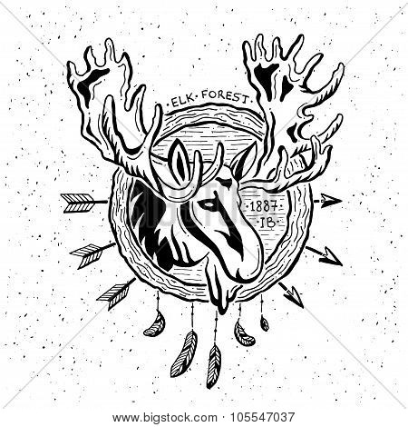 Illustration of vintage grunge label with moose