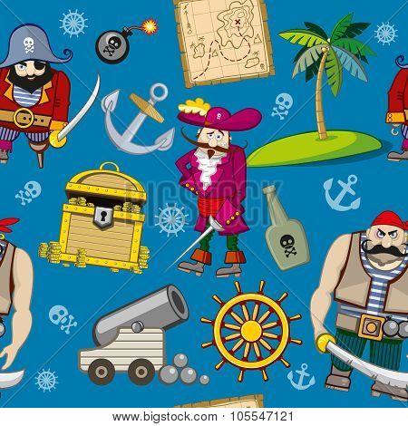 Cartoon pirates seamless pattern background