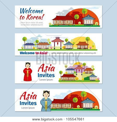 Korea, japan, thailand travel vector banners template set