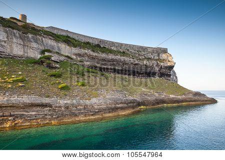 Bay Of Bonifacio, Coastal Landscape With Fortress