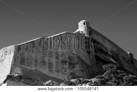 Old Fortress On Rocky Coast In Bonifacio, Corsica