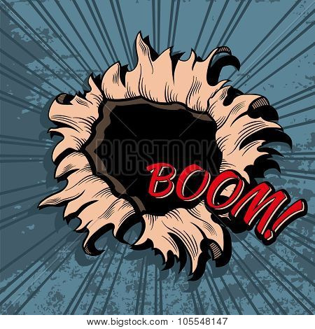 Comic style hole vector background