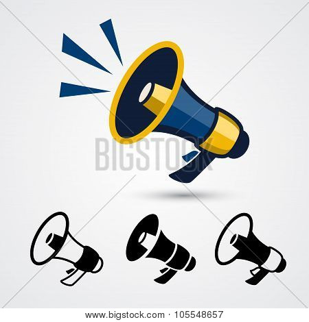 Megaphone signs isolated on white background