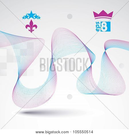 3D Vector Decorative Background With Curved Transparent Dynamic Ribbon. Wonderful Aerial Textile Com