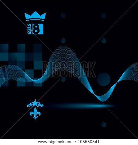 Blue Dimensional Flowing Stripy Ribbon, Dreamy Futuristic Background With Royal Elements, Stars And