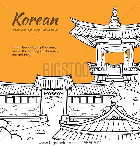 Background with Korean architecture of traditional houses. Vector illustration in hand drawn style