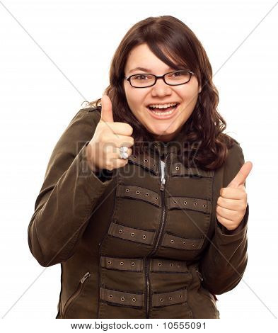 Excited Young Caucasian Woman With Thumbs Up