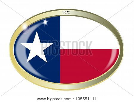 Texas State Flag Oval Button