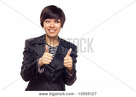 Happy Young Mixed Race Woman With Thumbs Up On White
