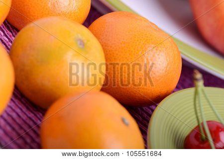 Bunch Of Fresh Mandarin Oranges, Health Food Concept