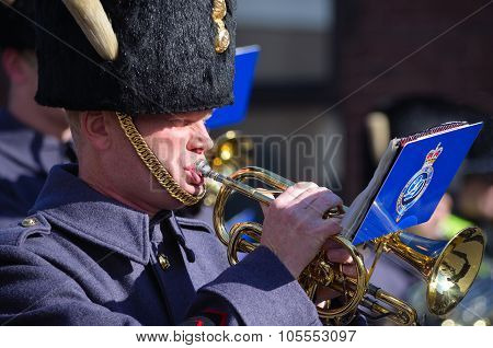 RAF Bandsman playing cornet