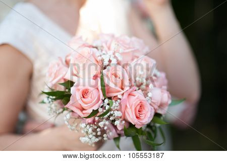 Big wedding bouquet.