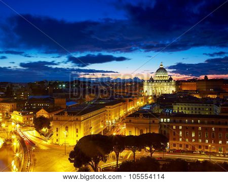 Rome, Italy. St. Peter's cathedral after sunset