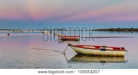 Panorama Harbor With Fishing Boats On A Pink Sunset.