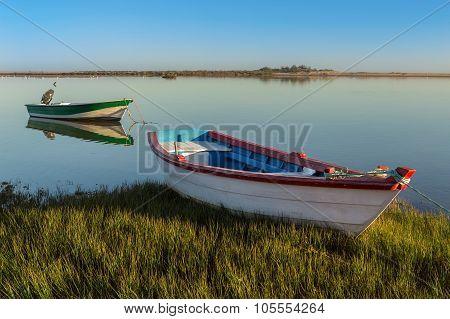 Harbors And Fishing Boats On The Shore. Sea Bay