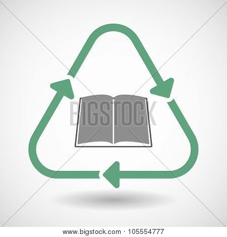 Line Art Recycle Sign Icon With A Book