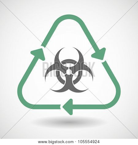 Line Art Recycle Sign Icon With A Biohazard Sign