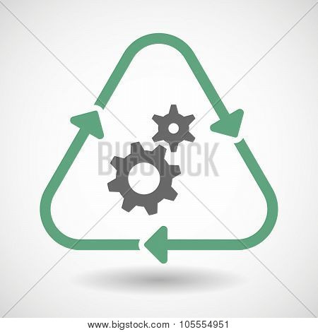 Line Art Recycle Sign Icon With Two Gears