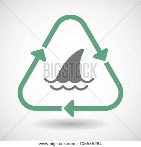 Line Art Recycle Sign Icon With A Shark Fin
