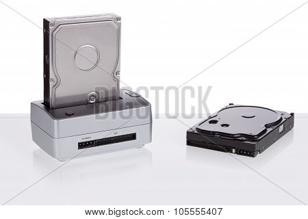 Hard Drive Docking Station For Data Transmission. To Save And Duplication.