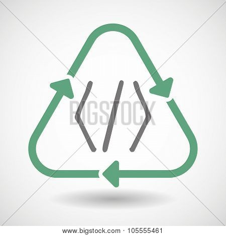 Line Art Recycle Sign Icon With A Code Sign