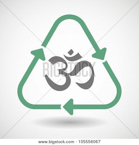 Line Art Recycle Sign Icon With An Om Sign