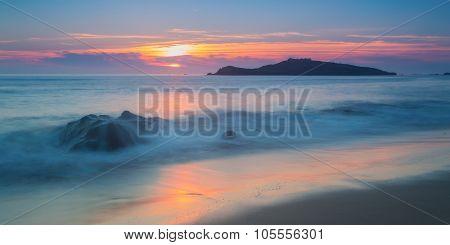 Magic Sunset View Of The Sea. Portugal, The Pessegueiro Island.
