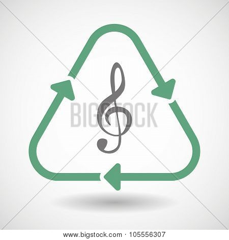 Line Art Recycle Sign Icon With A G Clef