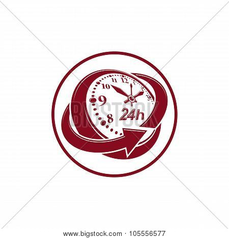 24 Hours-a-day Concept, Clock Face With A Dial And An Arrow Around. Day-and-night Interface Vector I