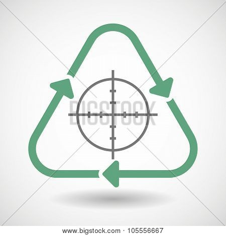 Line Art Recycle Sign Icon With A Crosshair