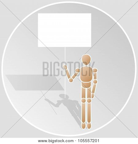 wooden stick figure with announcement - vector illustration.