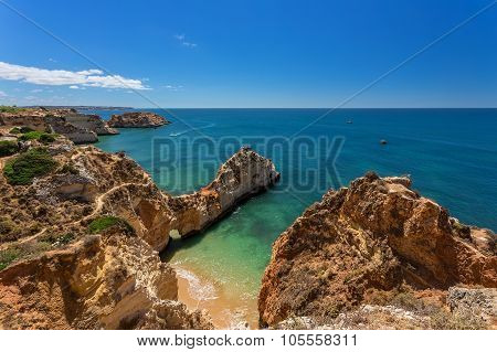 Seascapes Albufeira. In Summer, The Clear Waters. Portugal Algarve Area.