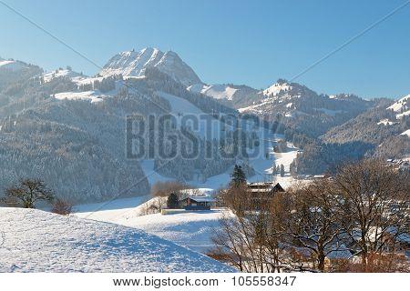 Idyllic Winter Mountain Landscape In The Alps