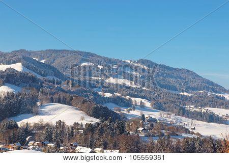 Picturesque Mountain Landscape Near The Castle Of Gruyeres In Switzerland