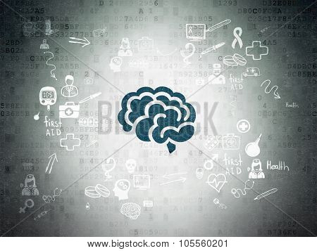 Medicine concept: Brain on Digital Paper background