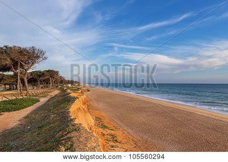 Landscape View Of The Sea Shore For A Walk. Portugal Algarve.