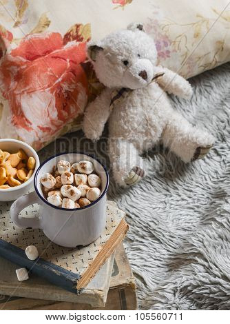 Hot Chocolate With Marshmallows, Teddy Bear, Books, Pillow And Blanket. The Concept Of Home Comfort