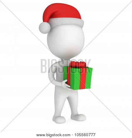 3D White Santa Claus Cap With Gift Box.